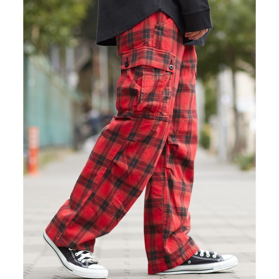 ワイドカーゴパンツ メンズ ワイドパンツ 柄 チェックパンツ チェック パンツ ダンス 赤 チェック柄パンツ タータンチェックヘビーネル レッド ブルー ブラック ホワイト 青 黒 白 韓国 ファッション improves 94