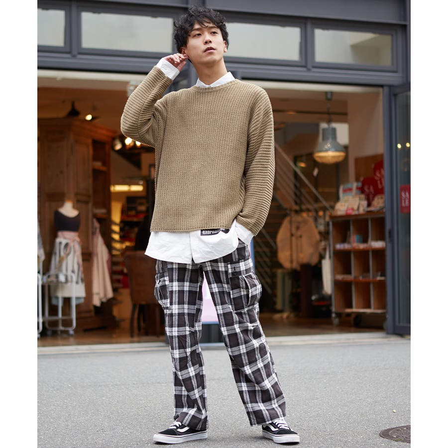 ワイドカーゴパンツ メンズ ワイドパンツ 柄 チェックパンツ チェック パンツ ダンス 赤 チェック柄パンツ タータンチェックヘビーネル レッド ブルー ブラック ホワイト 青 黒 白 韓国 ファッション improves 7
