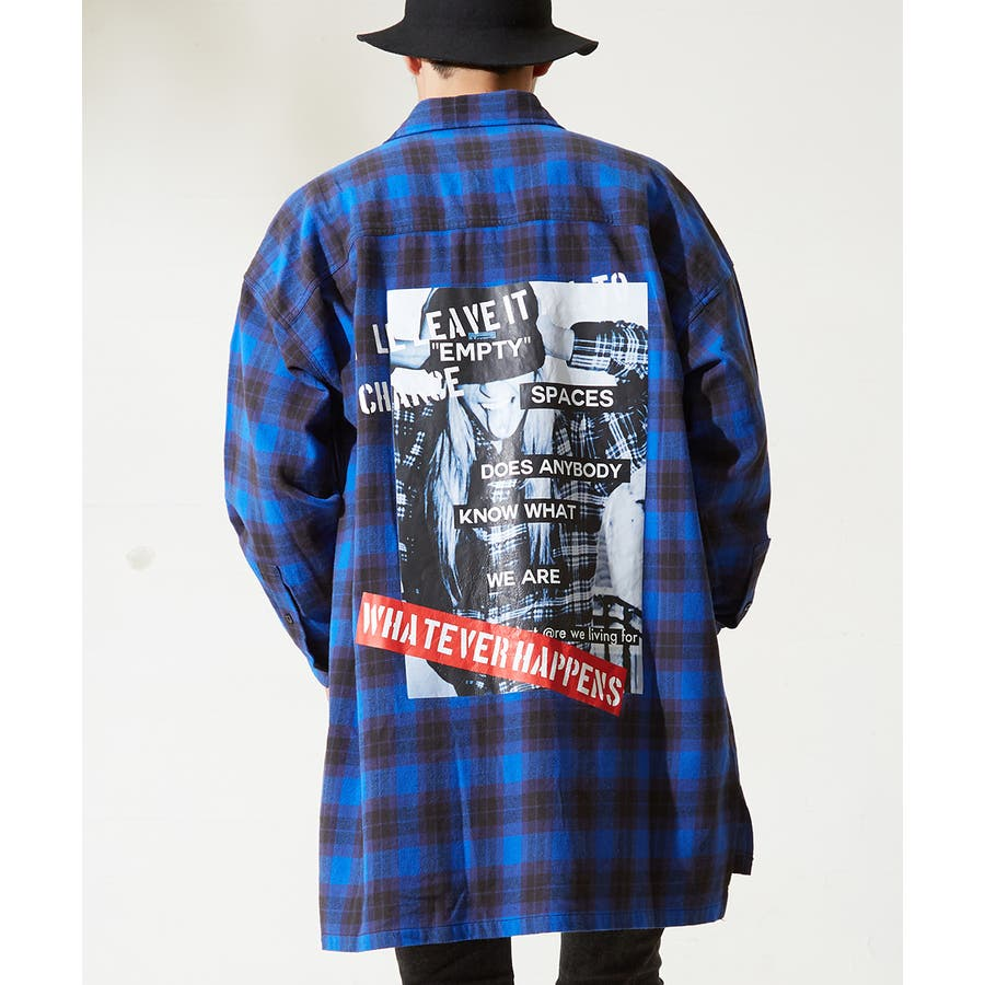 チェックシャツ メンズ 韓国 ファッション ビッグシルエット シャツ 長袖シャツ ビッグシャツ レディース シャツジャケットショップコート ロングシャツ チェック柄 ネルシャツ バックプリントシャツ ビックシルエット improves 59
