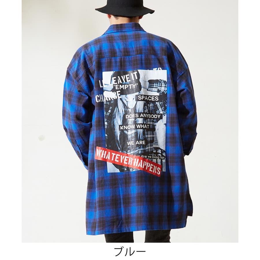 チェックシャツ メンズ 韓国 ファッション ビッグシルエット シャツ 長袖シャツ ビッグシャツ レディース シャツジャケットショップコート ロングシャツ チェック柄 ネルシャツ バックプリントシャツ ビックシルエット improves 2