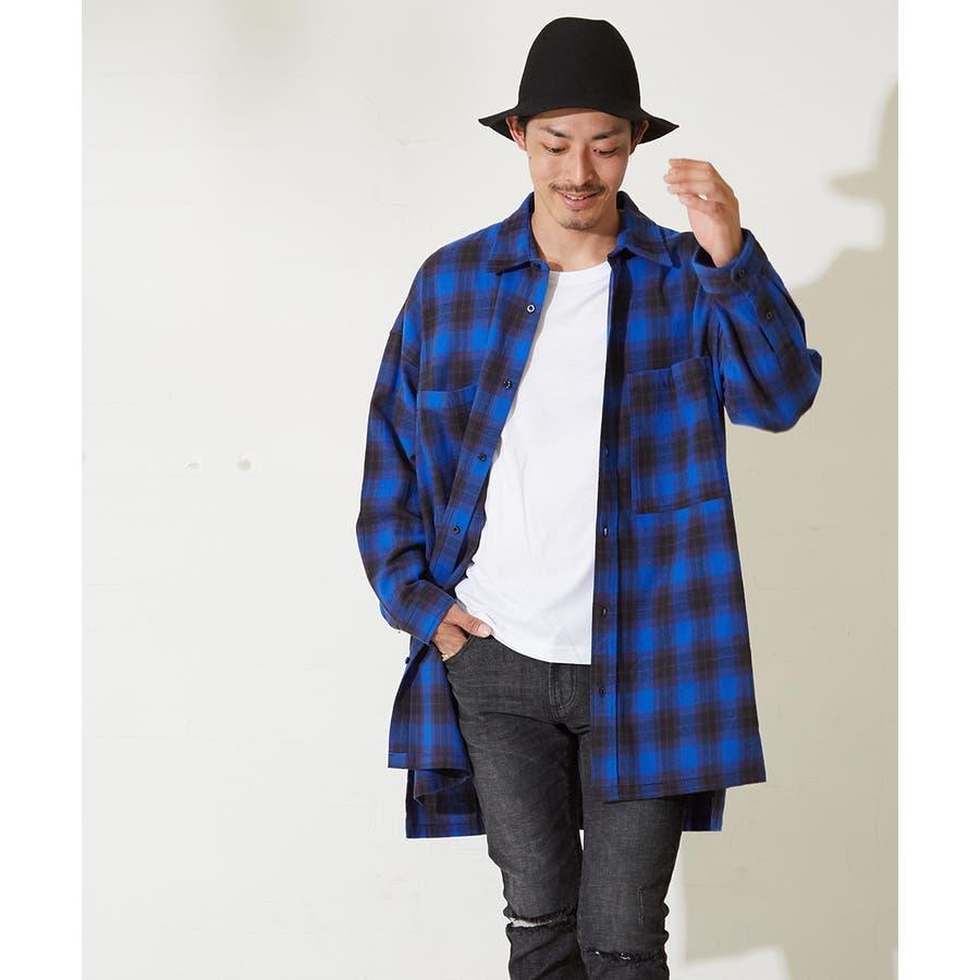 チェックシャツ メンズ 韓国 ファッション ビッグシルエット シャツ 長袖シャツ ビッグシャツ レディース シャツジャケットショップコート ロングシャツ チェック柄 ネルシャツ バックプリントシャツ ビックシルエット improves 3
