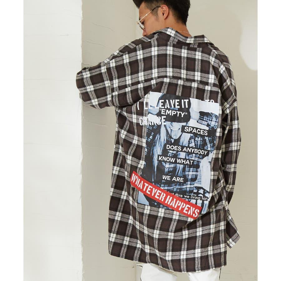 チェックシャツ メンズ 韓国 ファッション ビッグシルエット シャツ 長袖シャツ ビッグシャツ レディース シャツジャケットショップコート ロングシャツ チェック柄 ネルシャツ バックプリントシャツ ビックシルエット improves 21