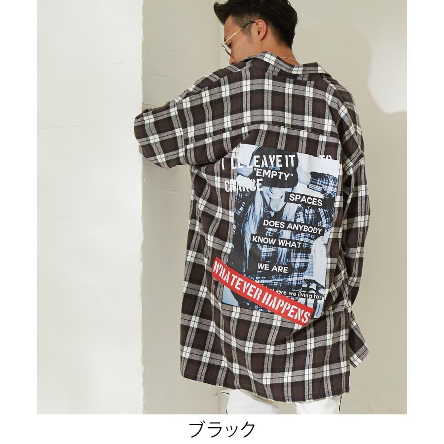 チェックシャツ メンズ 韓国 ファッション ビッグシルエット シャツ 長袖シャツ ビッグシャツ レディース シャツジャケットショップコート ロングシャツ チェック柄 ネルシャツ バックプリントシャツ ビックシルエット improves 4