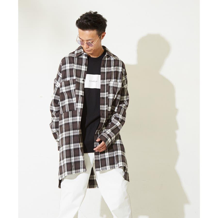 チェックシャツ メンズ 韓国 ファッション ビッグシルエット シャツ 長袖シャツ ビッグシャツ レディース シャツジャケットショップコート ロングシャツ チェック柄 ネルシャツ バックプリントシャツ ビックシルエット improves 5