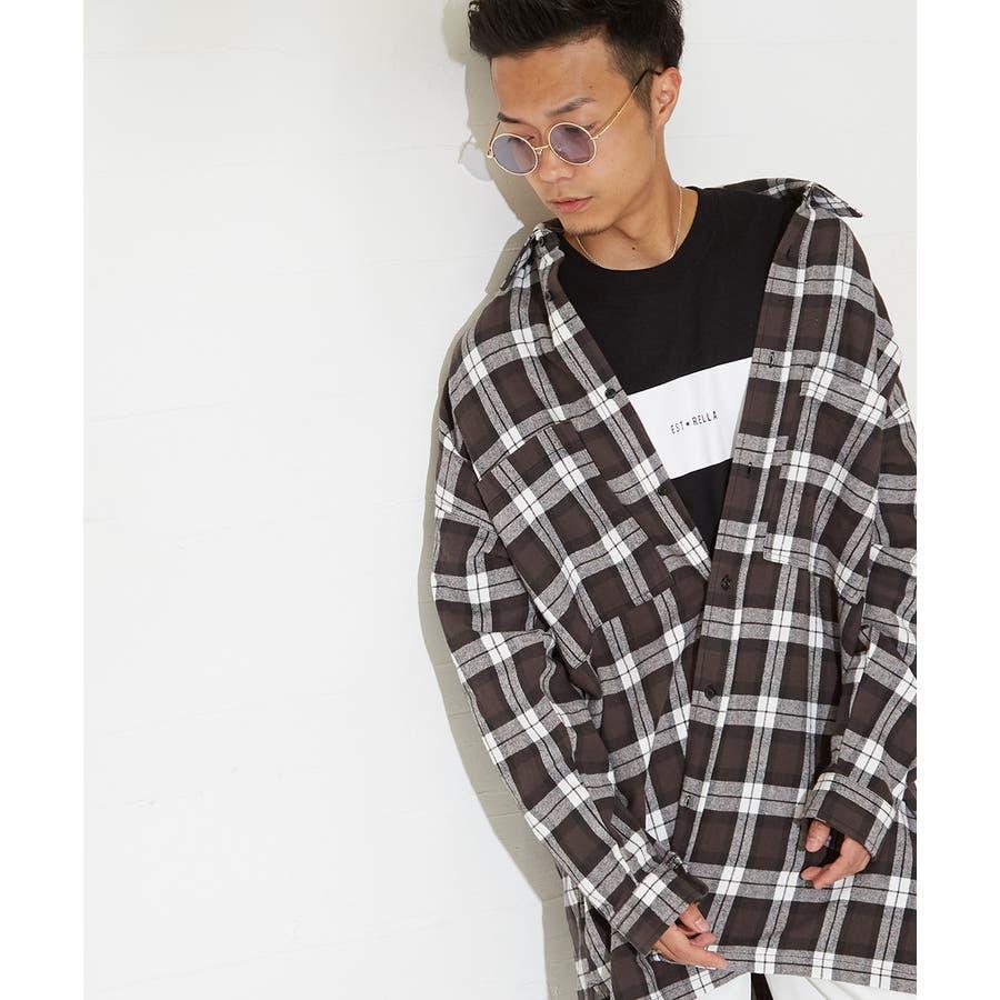 チェックシャツ メンズ 韓国 ファッション ビッグシルエット シャツ 長袖シャツ ビッグシャツ レディース シャツジャケットショップコート ロングシャツ チェック柄 ネルシャツ バックプリントシャツ ビックシルエット improves 6