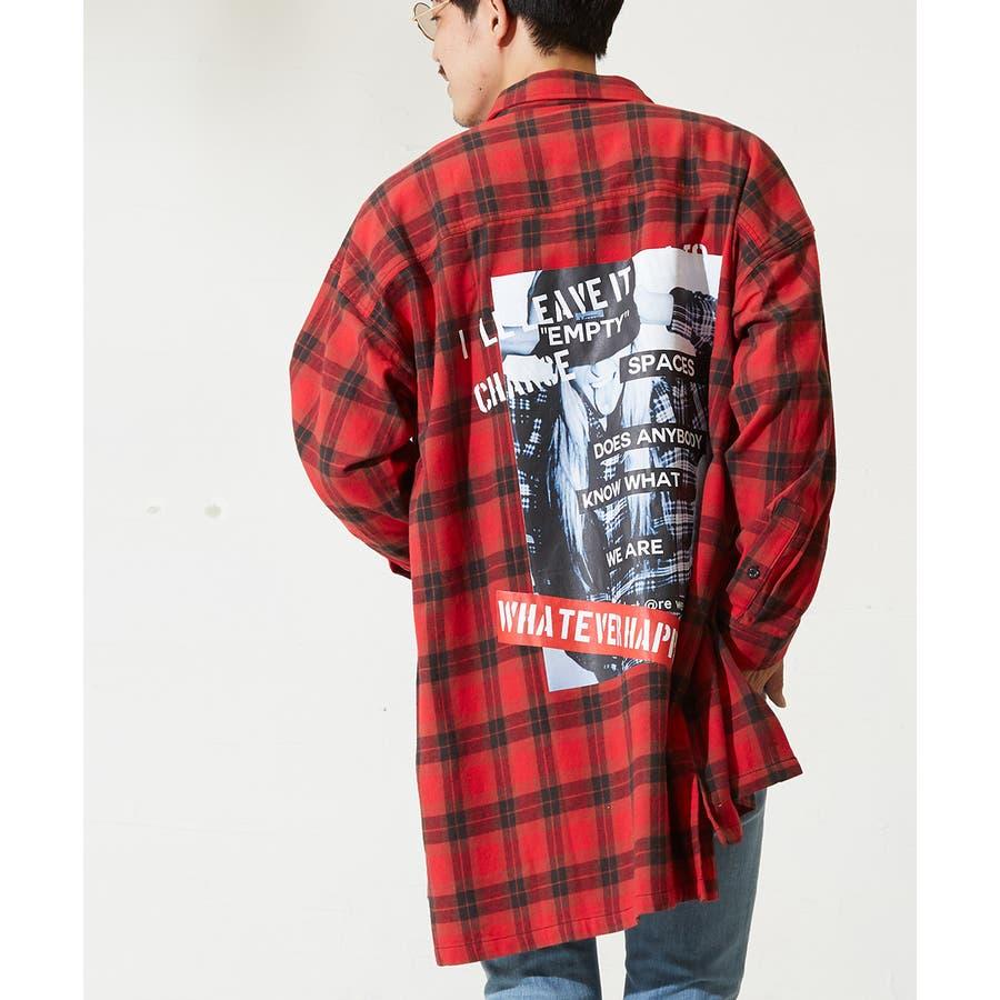チェックシャツ メンズ 韓国 ファッション ビッグシルエット シャツ 長袖シャツ ビッグシャツ レディース シャツジャケットショップコート ロングシャツ チェック柄 ネルシャツ バックプリントシャツ ビックシルエット improves 94