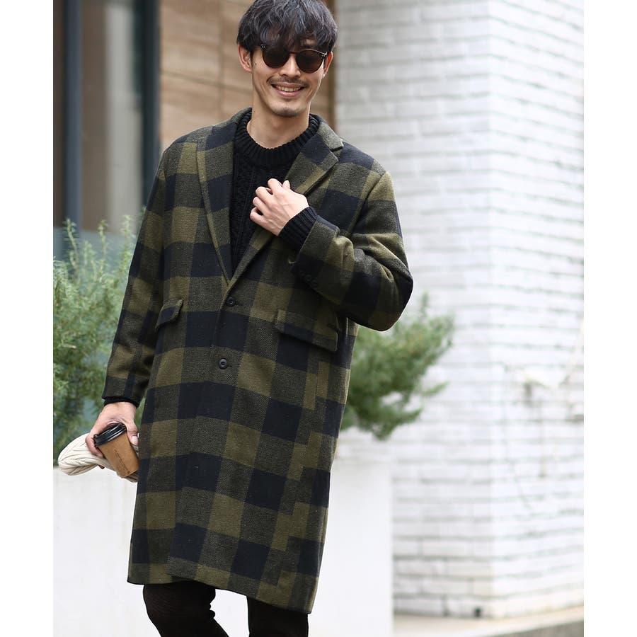 チェスターコート メンズ ロング コート メルトンコート ビッグシルエット 大きいサイズ ゆったり オーバーサイズ 無地チェック柄ブロックチェック ロングコート チェスターフィールドコート きれいめ キレイめ トラッド 韓国ファッションimproves 52