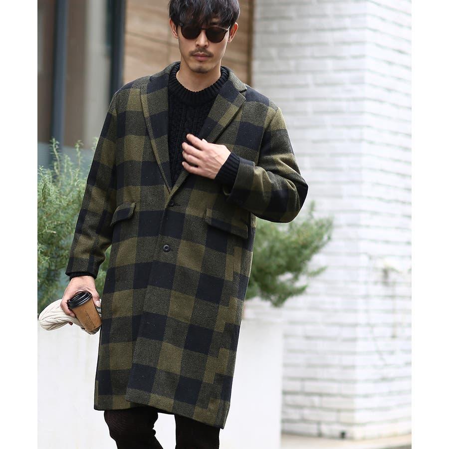 チェスターコート メンズ ロング コート メルトンコート ビッグシルエット 大きいサイズ ゆったり オーバーサイズ 無地チェック柄ブロックチェック ロングコート チェスターフィールドコート きれいめ キレイめ トラッド 韓国ファッションimproves 4