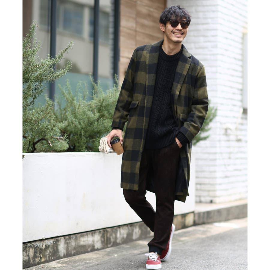 チェスターコート メンズ ロング コート メルトンコート ビッグシルエット 大きいサイズ ゆったり オーバーサイズ 無地チェック柄ブロックチェック ロングコート チェスターフィールドコート きれいめ キレイめ トラッド 韓国ファッションimproves 5