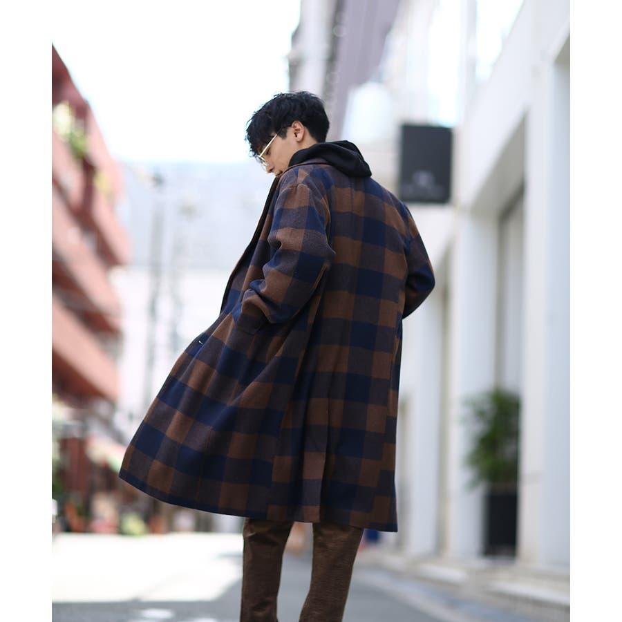 チェスターコート メンズ ロング コート メルトンコート ビッグシルエット 大きいサイズ ゆったり オーバーサイズ 無地チェック柄ブロックチェック ロングコート チェスターフィールドコート きれいめ キレイめ トラッド 韓国ファッションimproves 7