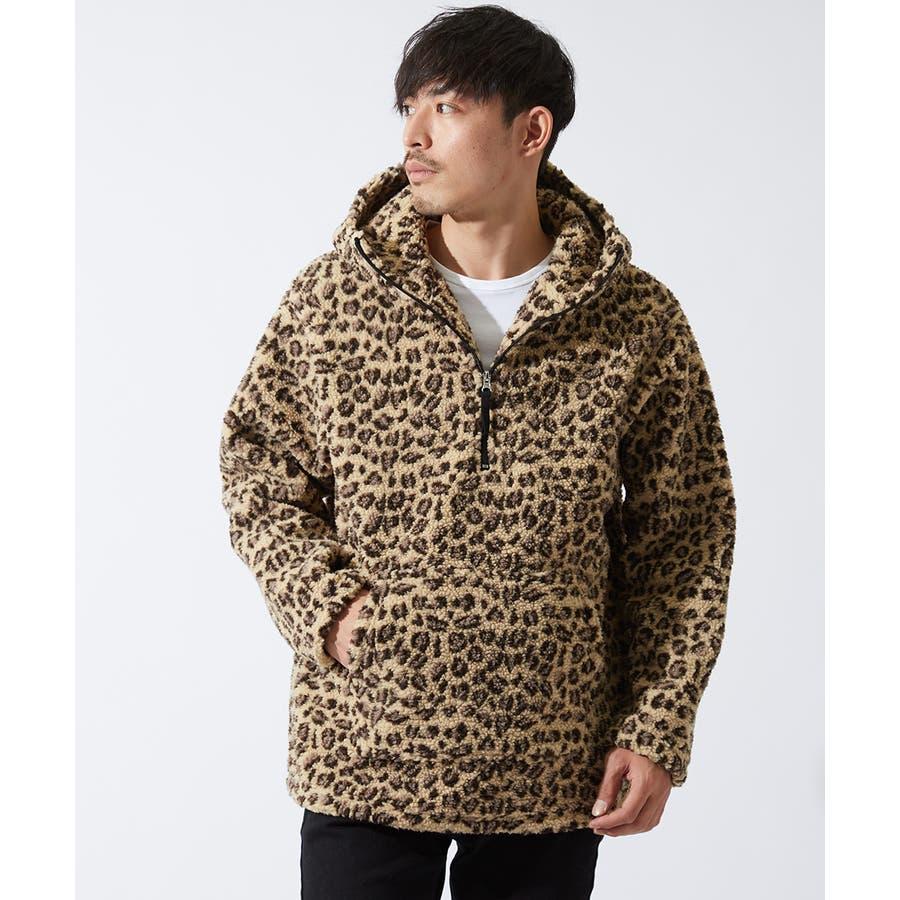 アノラックパーカー メンズ レディース ボアジャケット もこもこ 暖かい あったか プルオーバー プルパーカー ボアパーカー 長袖無地レオパード柄 豹柄 ヒョウ柄 黒 アウトドア キャンプ ストリート系 ストリートファッション 韓国ファッション improves 108