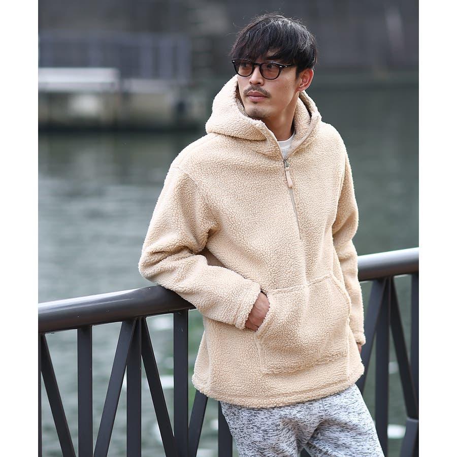 アノラックパーカー メンズ レディース ボアジャケット もこもこ 暖かい あったか プルオーバー プルパーカー ボアパーカー 長袖無地レオパード柄 豹柄 ヒョウ柄 黒 アウトドア キャンプ ストリート系 ストリートファッション 韓国ファッション improves 3