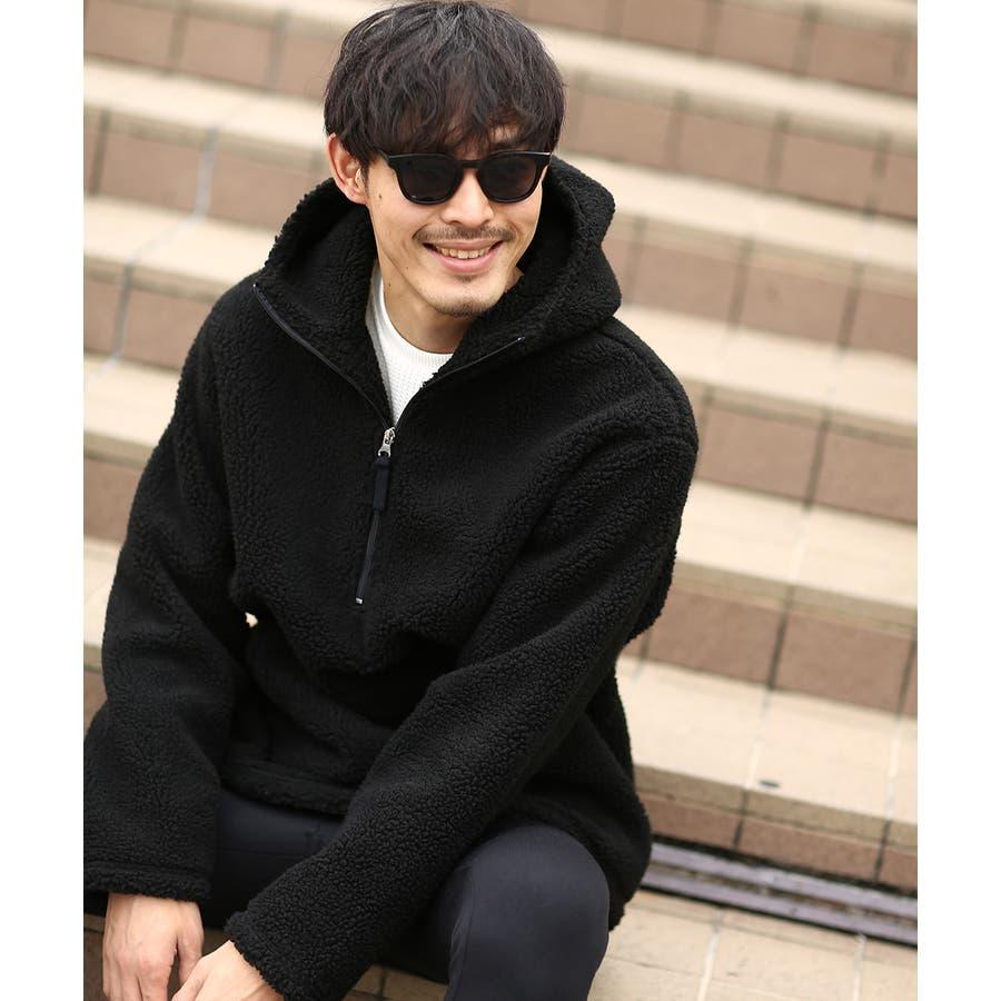 アノラックパーカー メンズ レディース ボアジャケット もこもこ 暖かい あったか プルオーバー プルパーカー ボアパーカー 長袖無地レオパード柄 豹柄 ヒョウ柄 黒 アウトドア キャンプ ストリート系 ストリートファッション 韓国ファッション improves 21