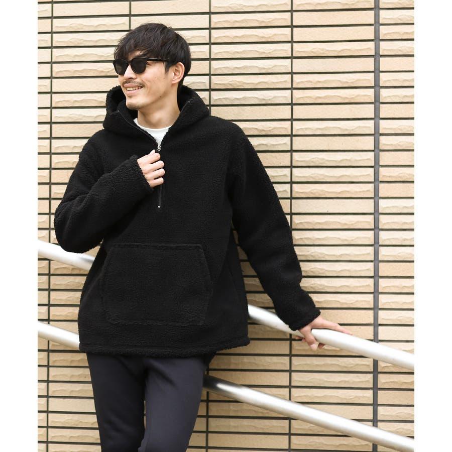 アノラックパーカー メンズ レディース ボアジャケット もこもこ 暖かい あったか プルオーバー プルパーカー ボアパーカー 長袖無地レオパード柄 豹柄 ヒョウ柄 黒 アウトドア キャンプ ストリート系 ストリートファッション 韓国ファッション improves 5
