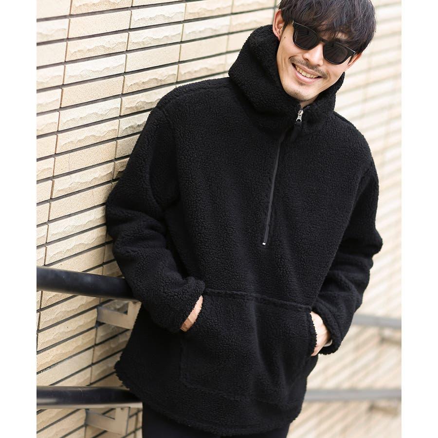 アノラックパーカー メンズ レディース ボアジャケット もこもこ 暖かい あったか プルオーバー プルパーカー ボアパーカー 長袖無地レオパード柄 豹柄 ヒョウ柄 黒 アウトドア キャンプ ストリート系 ストリートファッション 韓国ファッション improves 6