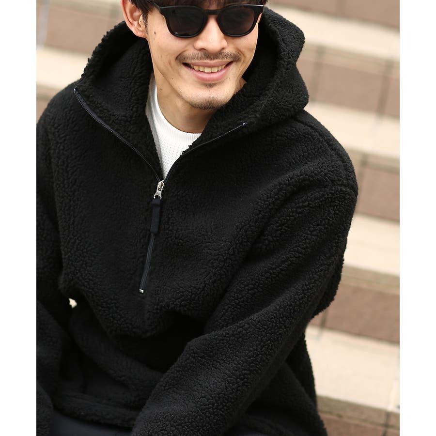 アノラックパーカー メンズ レディース ボアジャケット もこもこ 暖かい あったか プルオーバー プルパーカー ボアパーカー 長袖無地レオパード柄 豹柄 ヒョウ柄 黒 アウトドア キャンプ ストリート系 ストリートファッション 韓国ファッション improves 7
