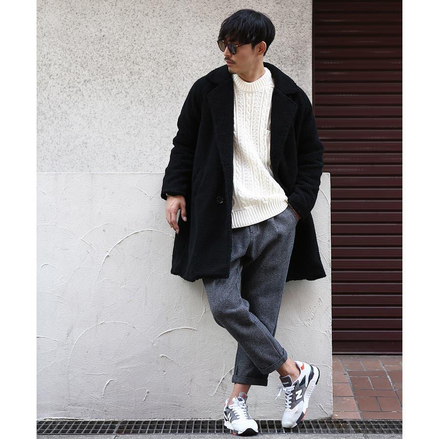チェスターコート メンズ レディース シープボア ビッグシルエット もこもこ あったか 暖かい ゆったり 大きいサイズ オーバーサイズロング丈 ロングコート 無地 レオパード柄 豹柄 ヒョウ柄 黒 ストリート系 ストリートファッション 韓国ファッションimproves 4