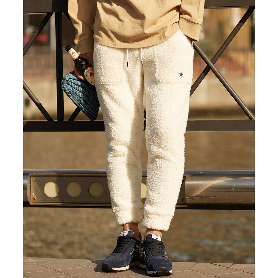 マイクロフリース ボア ジョガーパンツ メンズ レディース ジョガー パンツ もこもこ ブラック ホワイト キャメル ベージュブラウン 黒 白 improves 3