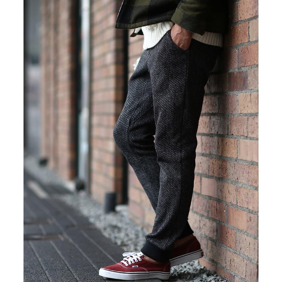 ジョガーパンツ メンズ セットアップ可能 ツイード あったか 暖かい 裏起毛 ウエストゴム スリム 細身 暖パン 黒improvesトラッド 英国 きれいめ キレイ目 フォーマル 21
