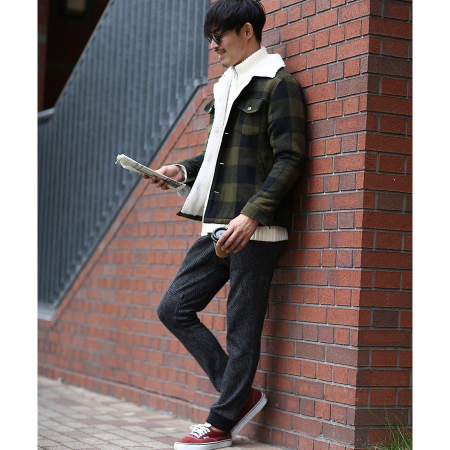 ジョガーパンツ メンズ セットアップ可能 ツイード あったか 暖かい 裏起毛 ウエストゴム スリム 細身 暖パン 黒improvesトラッド 英国 きれいめ キレイ目 フォーマル 6