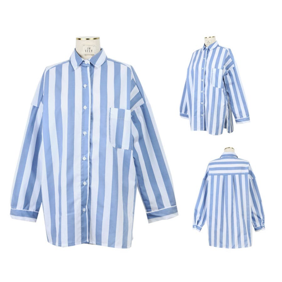 【IMVELY公式サイト】ホワイトブルーストライプシャツI81BL0056/I81BL0056 韓国 ファッション レディース 長袖