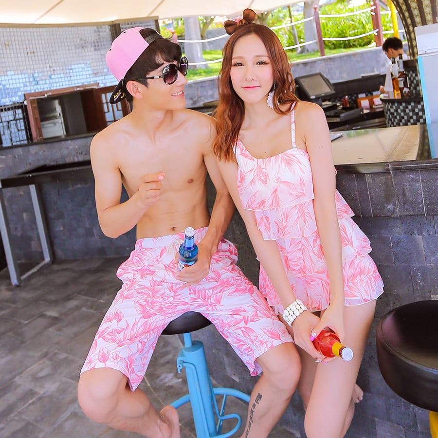 カップルでお揃い水着セット☆(レディース、メンズ、お揃い セット ビーチパンツ、トランクス、ハーフパンツ、カジュアル/短パン/大きいサイズあり、みずぎ、mizugi、ミズギ) 1