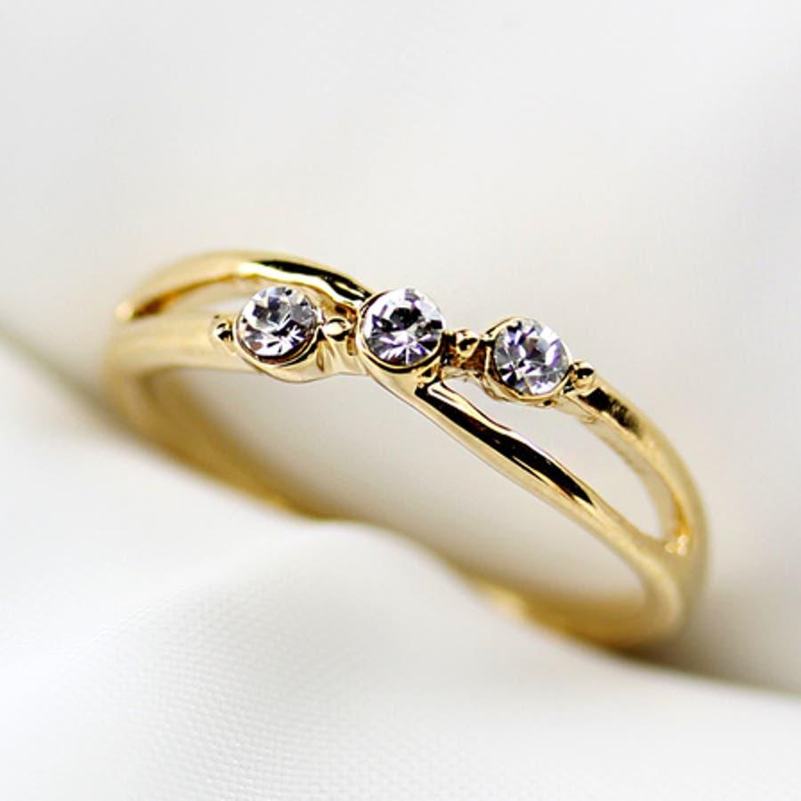 3連スワロフスキークリスタルファッションリング/指輪 3