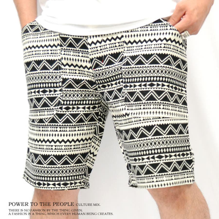 ダサく見せない! メンズファッション通販POWER TO THE PEOPLE パワートゥーザピープル ウエストリブ 総ジャガード織りショートパンツ ~全2色~4512192 摂理