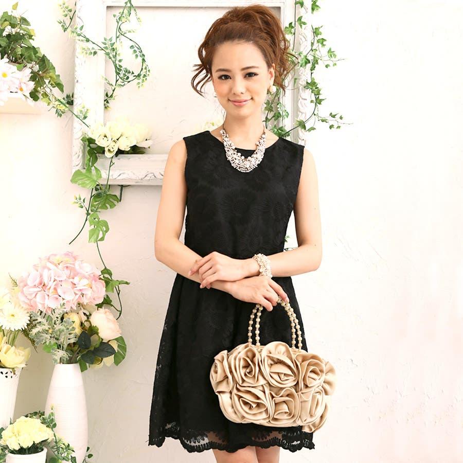 8816b8e85ebf6 ドレス・ワンピース・二次会・結婚式・大きいサイズ・LA 花柄刺繍 ...