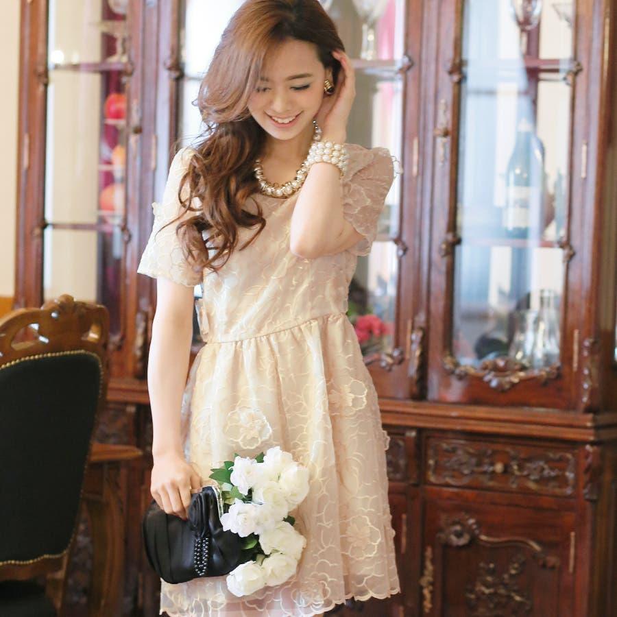 c6e09303f7a17 パーティードレス ワンピース 結婚式 フォーマル 花柄 ドレス ミディアム LA シフォン 二次会 刺繍 お呼ばれ 大人