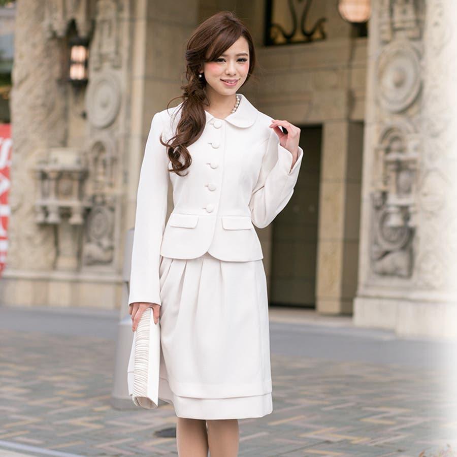 スーツ 入学式 卒業式 ママ ビジネス ジャケット スカート ワンピース 3点セット ホワイト リボン フォーマル