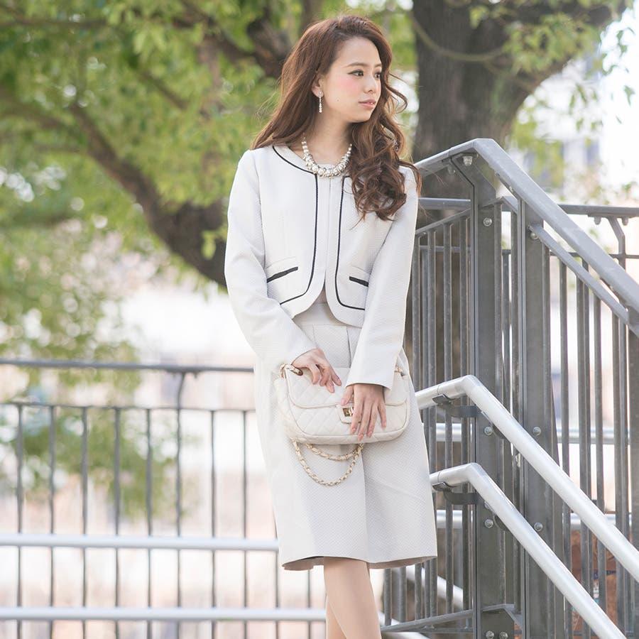 スーツ 入学式 卒業式 ママ ビジネス ジャケット スカート ワンピース 3点セット ノーカラー フォーマル