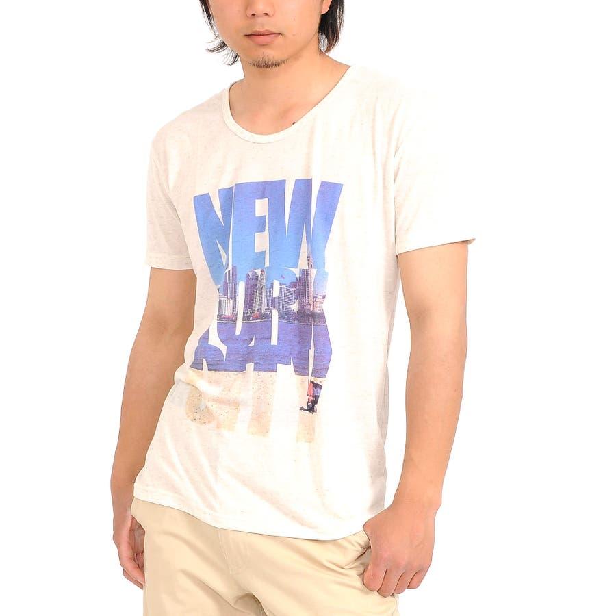 美シルエットを構築できる メンズファッション通販Tシャツ 半袖 メンズ Men's ティーシャツ 風景 T-SHIRTS Uネック プリント フォト リゾートNEWYORK 春先行  春 栄華