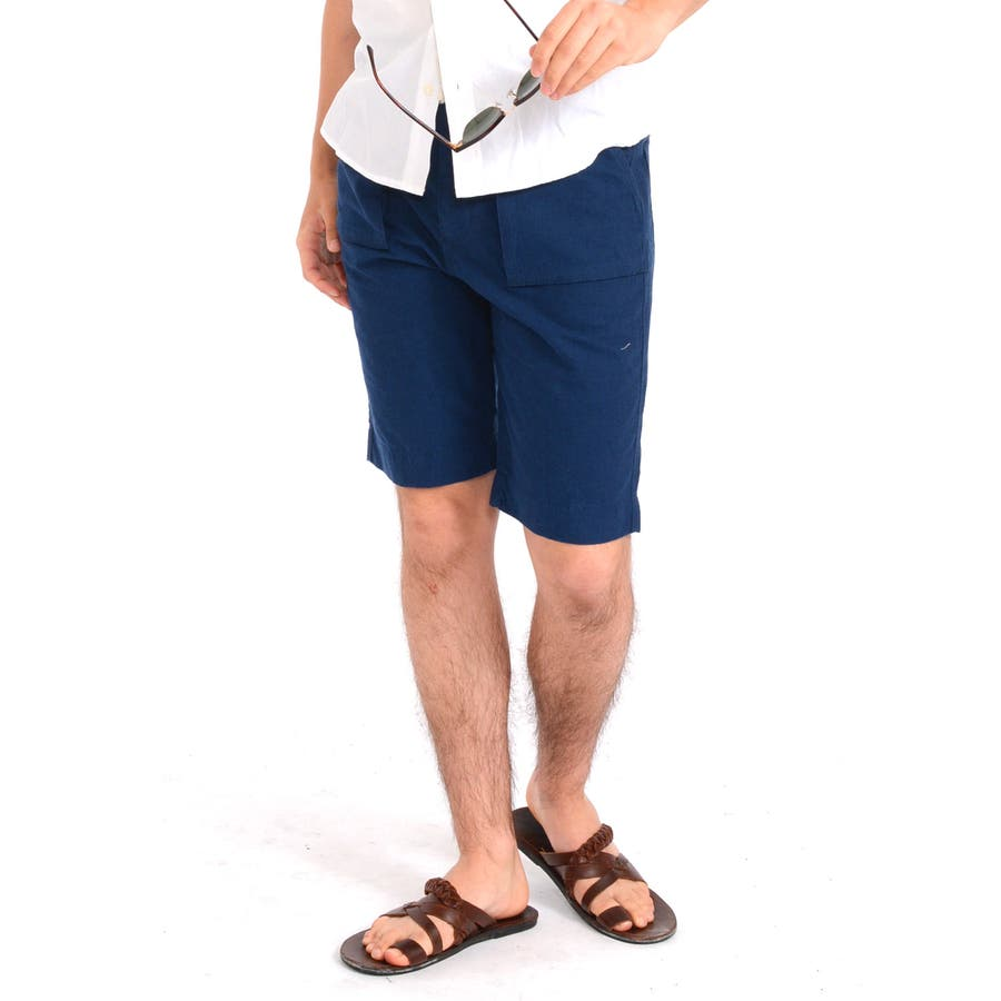 楽に着こなせると思います メンズファッション通販ショートパンツ メンズ ショーツ 無地 綿麻 麻 ブッシュ カラー ひざ上 膝上 パンツ マリン リゾート ショート 白ホワイト P25Jan15  春先行  春 撃砕