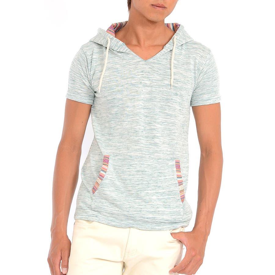 一着は持っておきたい Tシャツ パーカー メンズ Men's ジャガード エスニック ティーシャツ フード プルオーバー ボーダー 春先行  春 買収
