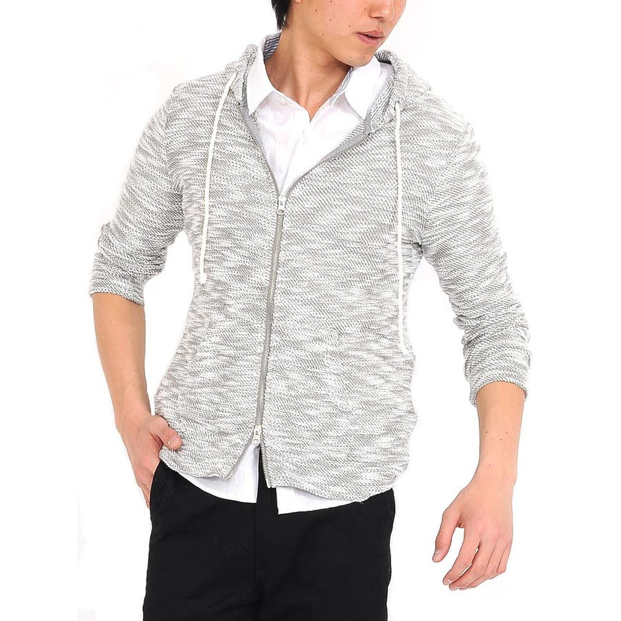 一着は押さえておきたい メンズファッション通販パーカー ニット パーカ ネップ スラブネップ フード ジップ ジップパーカー 春 夏 春 経過