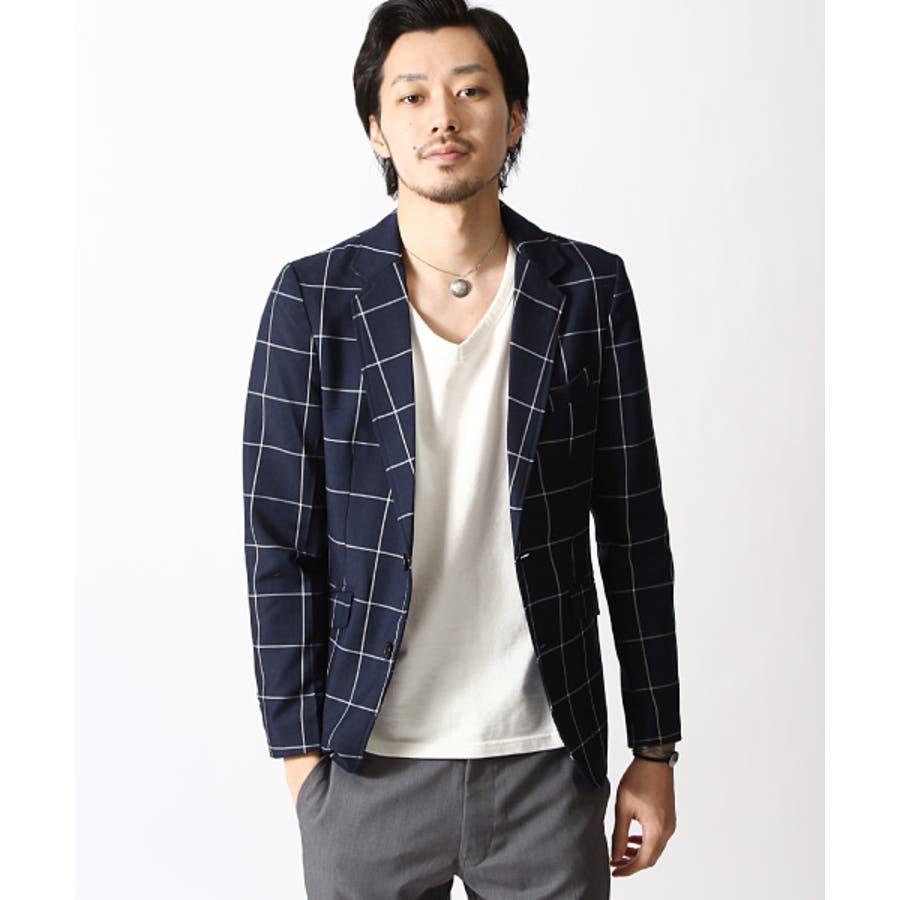 テーラードジャケット メンズ/メンズファッション/春 ウィンドペン チェック フォーマル [zip,cs