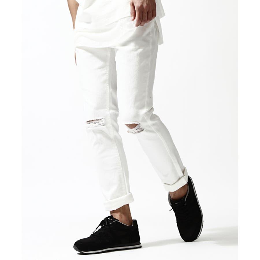 目指せお洒落優等生 メンズファッション通販スキニーパンツ メンズ メンズファッション 夏服 夏物 夏 スキニー チノパン チノパンツ ボトムス ストレッチ ブラック ホワイトスリムパンツ ダメージ  zip-cs  830428 売名