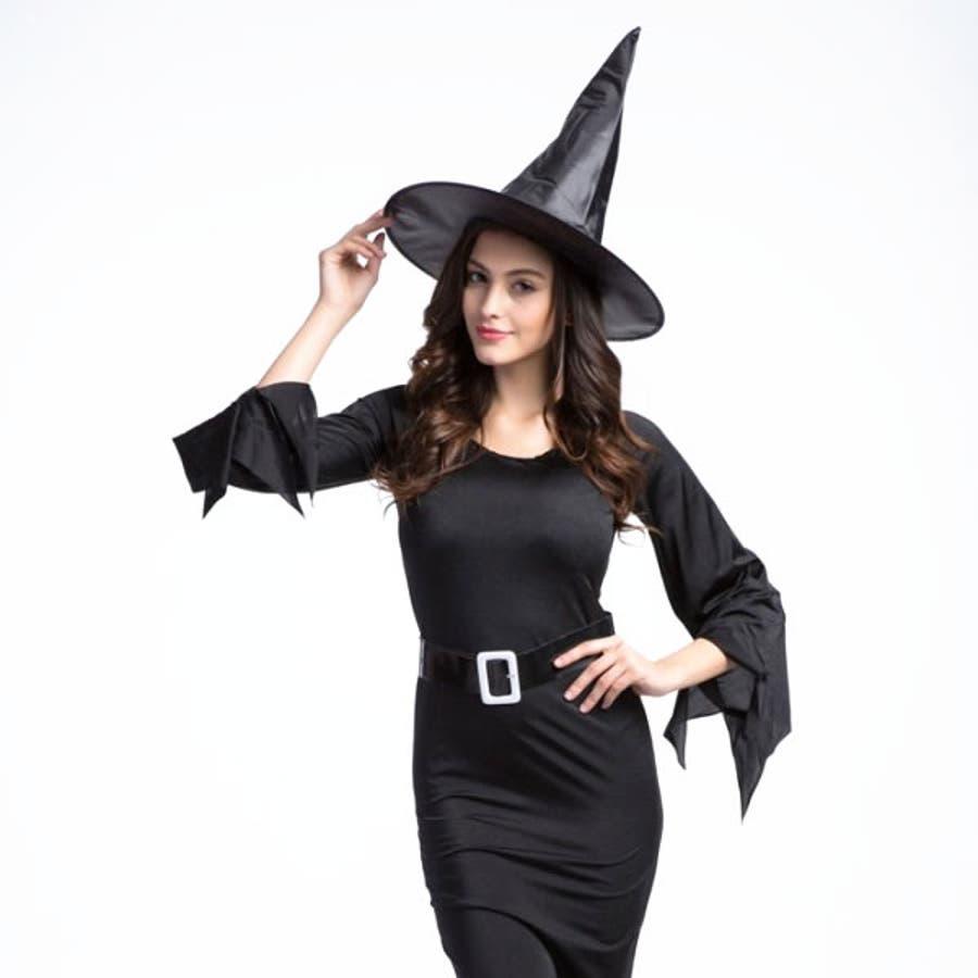 Halloween ハロウィン パーティー 黒魔女 とんがりハット付き ブラック ドレス ワンピース 大人サイズ【ハロウィン 魔女