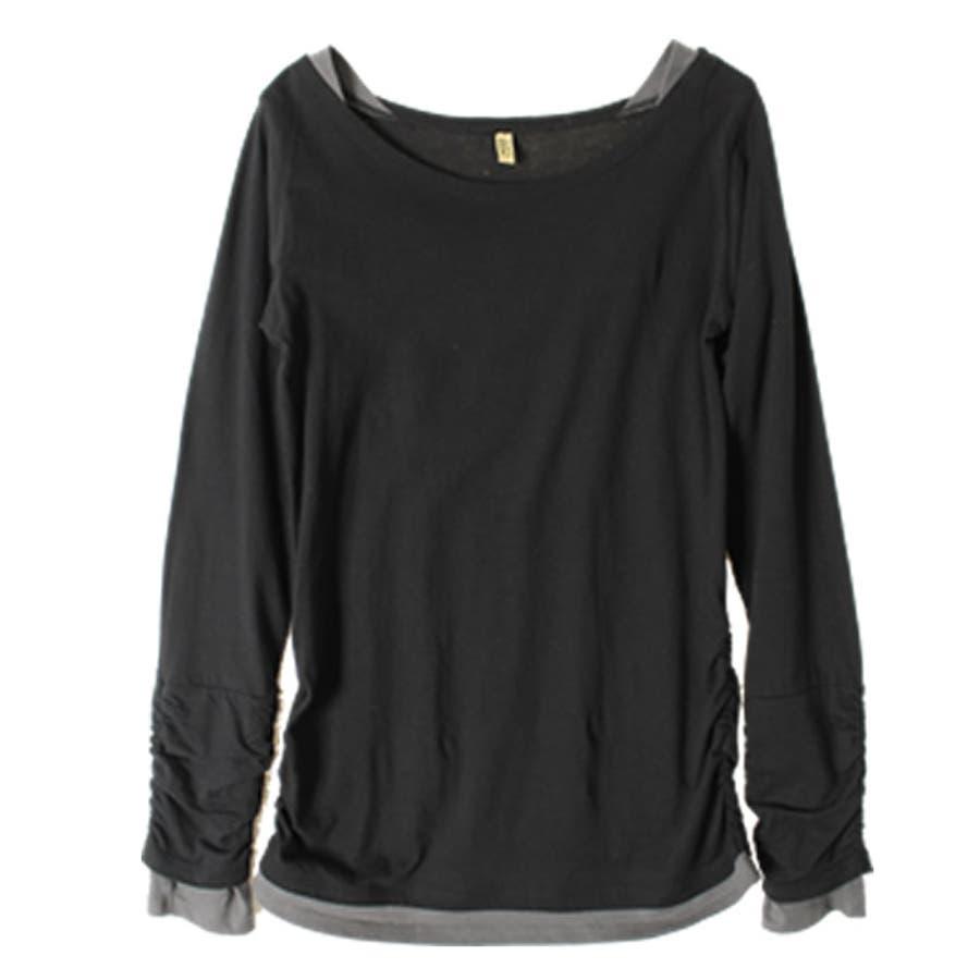 指穴 カットソー レイヤード 長袖 無地 ボートネック 大きいサイズ 秋 重ね着 重ね着風 おしゃれ 韓国 韓国ファッション トップスプルオーバー Tシャツ ロンT 長袖Tシャツ コットン カジュアル シンプル 23