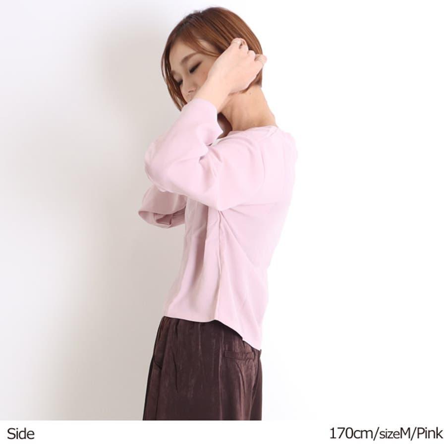 ブラウス レディース オフィス フォーマル フレアスリーブ スカーフ付 白 薄手 とろみ素材 きれいめ 大人かわいい シンプルビジネス インナー カットソー トップス プルオーバー 黒 シャツ 4