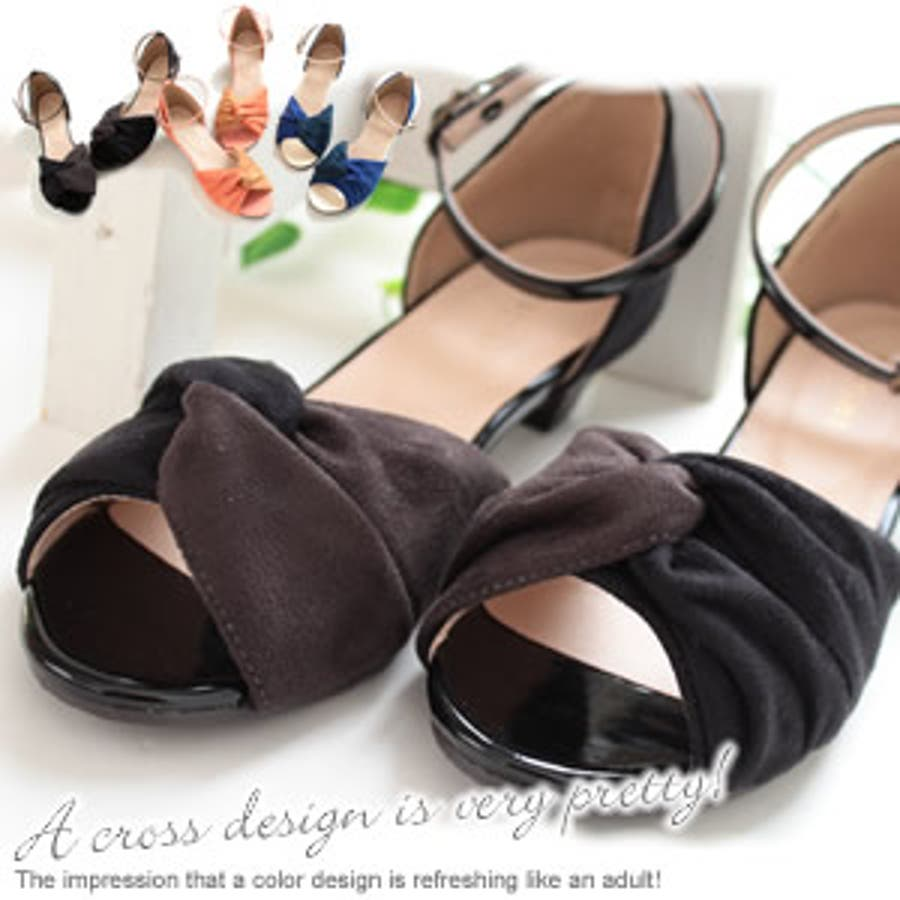形がオシャレでいい アンクルベルト付きエナメル使いオープントゥサンダル取り外し可能なベルトと配色のクロスデザインが大人っぽくて可愛い レディースファッション 靴 シューズ 秋の靴 通販  ふんわりとした起毛素材で全体的に柔らかな雰囲気でかわいい♪ 後刻