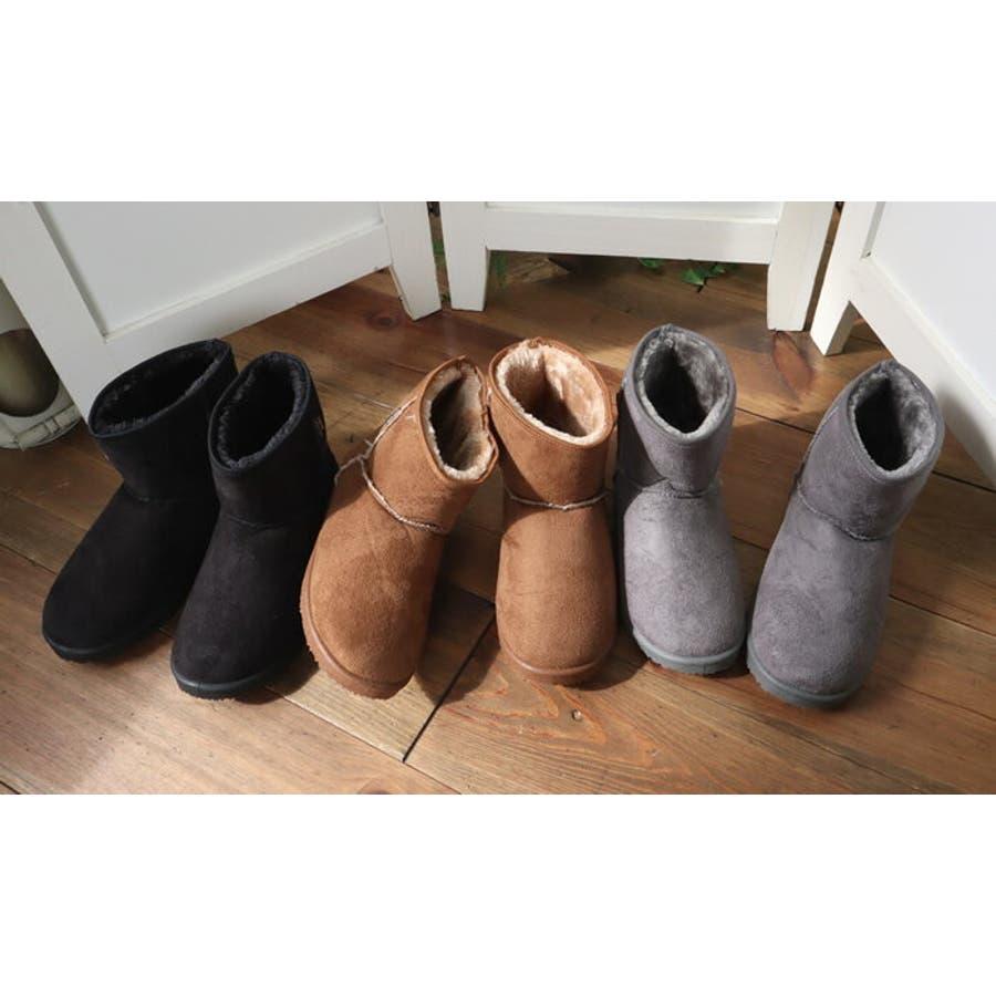 ムートンブーツ レディース インヒール ショート ムートン ブーツ 歩きやすい 大きいサイズ ボア ペタンコ 黒 ペタンコシューズ ぺたんこシューズ 痛くない 疲れない フラットシューズ フラット フラットブーツ 韓国 韓国ファッション 人気 ストリート 3