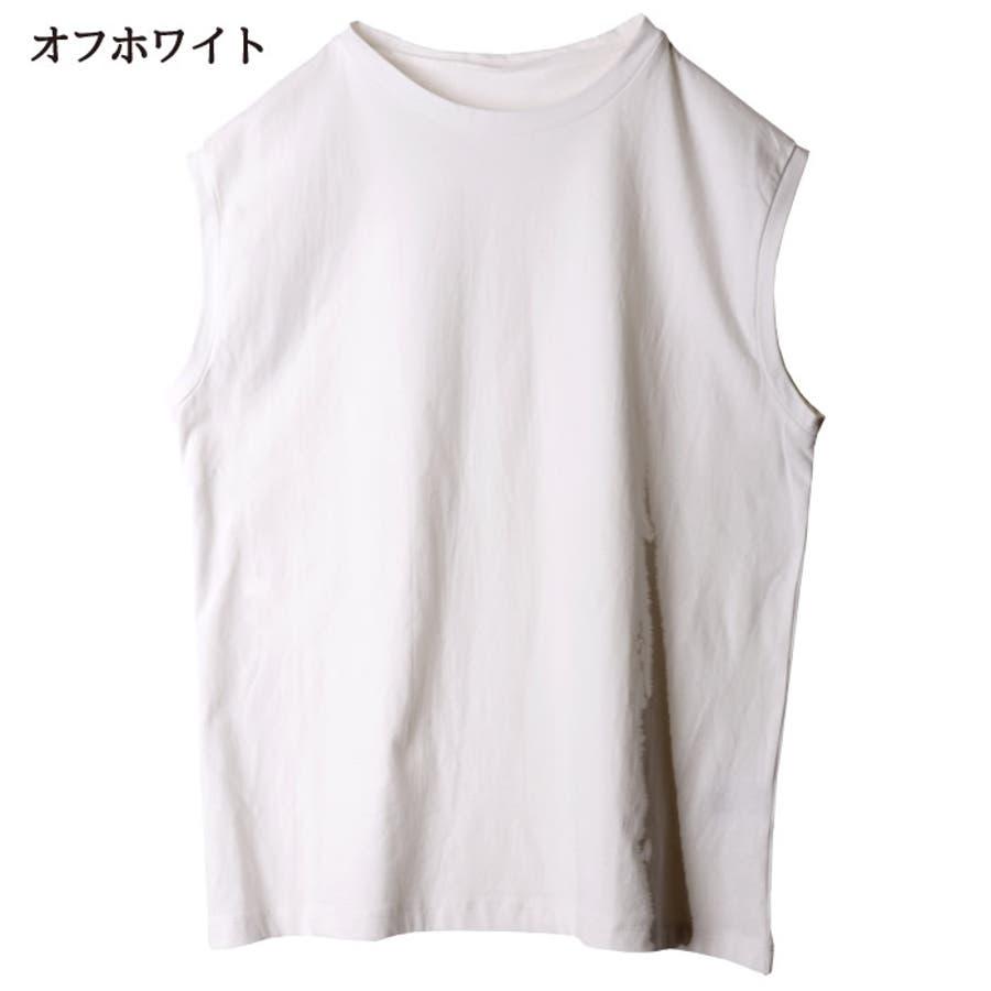 カットソー レディース ノースリーブ クルーネック スリーブレス トップス 綿100% tシャツ big オーバーシルエット オーバー Mサイズ ゆったり インナー 重ね着 きれいめ ルーズ トップス 袖なし 体型カバー ストリート 韓国 韓国ファッション 人気 無地tシャツ  10