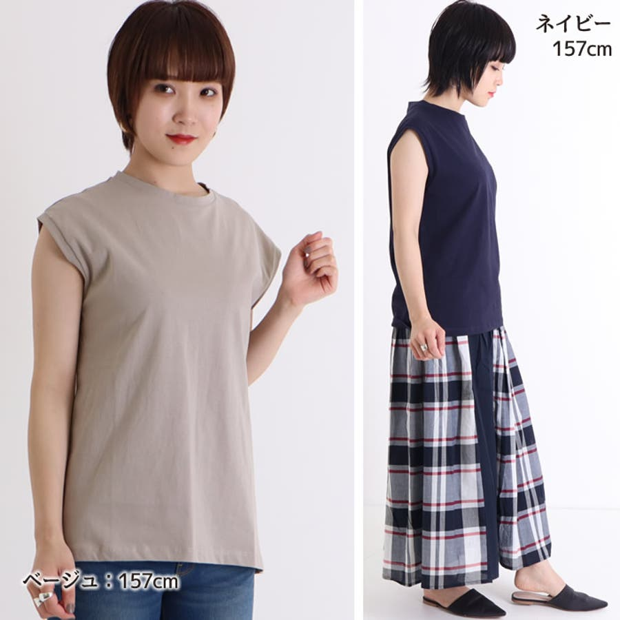 カットソー レディース ノースリーブ クルーネック スリーブレス トップス 綿100% tシャツ big オーバーシルエット オーバー Mサイズ ゆったり インナー 重ね着 きれいめ ルーズ トップス 袖なし 体型カバー ストリート 韓国 韓国ファッション 人気 無地tシャツ  5