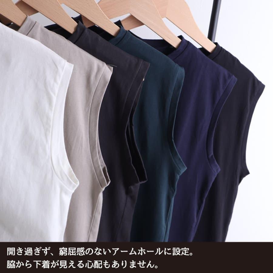 カットソー レディース ノースリーブ クルーネック スリーブレス トップス 綿100% tシャツ big オーバーシルエット オーバー Mサイズ ゆったり インナー 重ね着 きれいめ ルーズ トップス 袖なし 体型カバー ストリート 韓国 韓国ファッション 人気 無地tシャツ  8