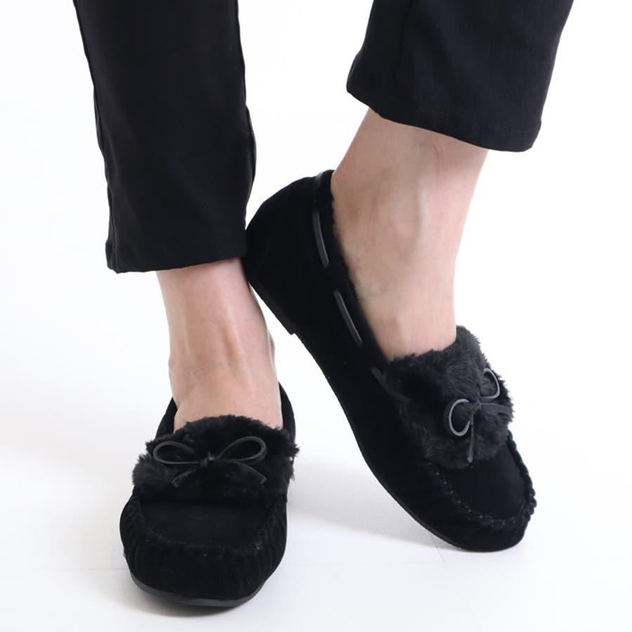 モカシン フラットシューズ フラットパンプス ファーシューズ レディース 大きいサイズ リボン付き フェイクファー スリッポン フラット 秋 冬 韓国 韓国ファッション人気 歩きやすい 疲れない ぺたんこシューズ 靴 フラットパンプス もこもこ ふわふわ 21