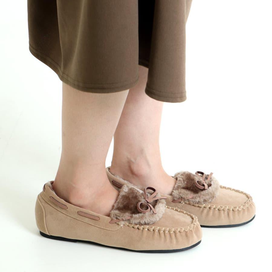 モカシン フラットシューズ フラットパンプス ファーシューズ レディース 大きいサイズ リボン付き フェイクファー スリッポン フラット 秋 冬 韓国 韓国ファッション人気 歩きやすい 疲れない ぺたんこシューズ 靴 フラットパンプス もこもこ ふわふわ 41