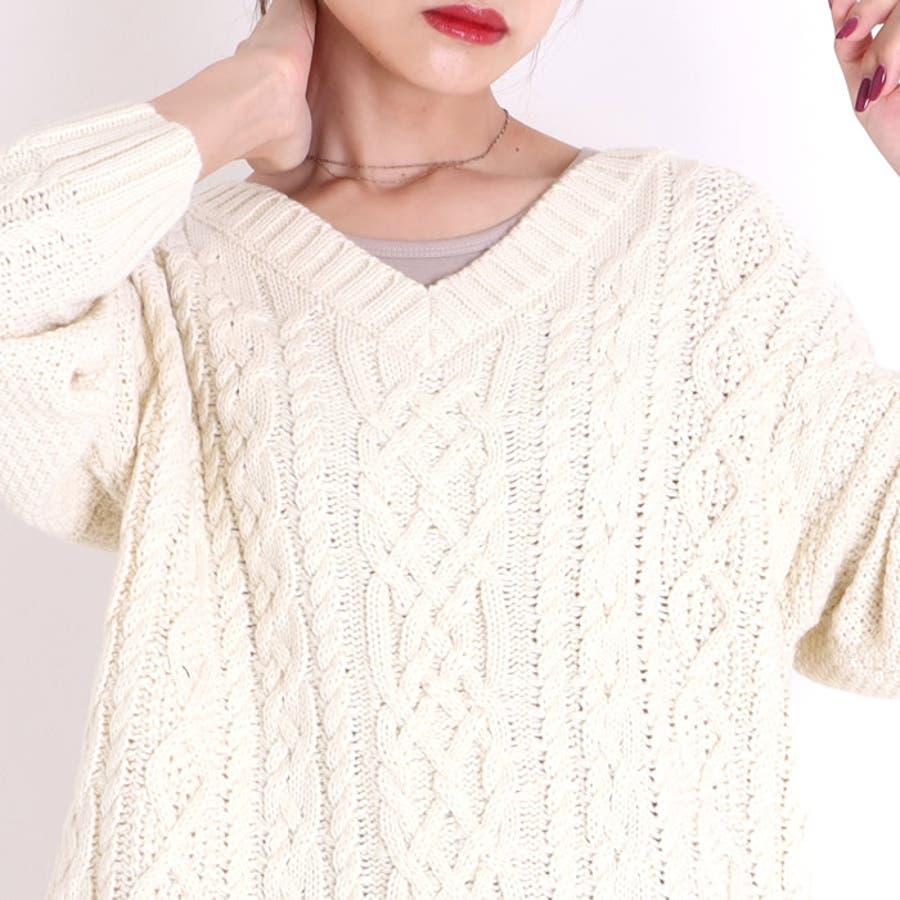 ニット レディース ケーブル編み ざっくりニット Vネック セーター オーバーサイズ ケーブルニット トップス 秋 冬 韓国 韓国ファッション 人気 あたたかい きれいめ 通勤 通学 重ね着 レイヤード ゆったり 大きいサイズ ゆるニット ざっくり編み ケーブルニット 大人 8