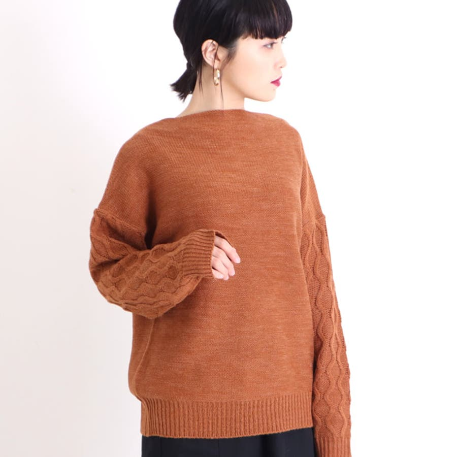 ニット ウール混合 ケーブル編み 切り替え セーター ボートネック レディース 暖かい トップス 韓国 韓国ファッション 通勤 通学オフィス きれいめ 大人 かわいい ゆったり 大きいサイズ ゆるニット ざっくり編み ざっくりニット 無地 シンプル 16